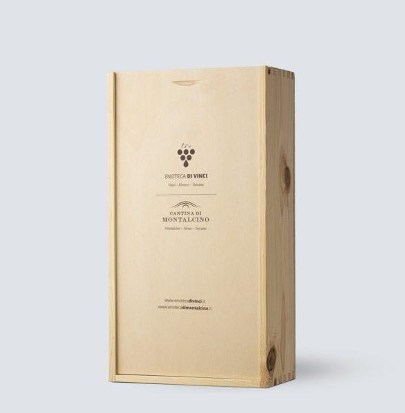 Cassetta in legno da 2 bottiglia - Enoteca di Vinci e Montalcino