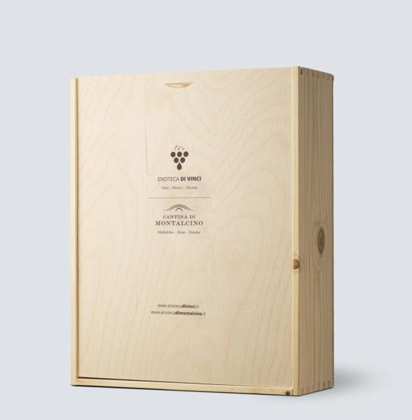 Cassetta in legno da 3 bottiglia - Enoteca di Vinci e Montalcino