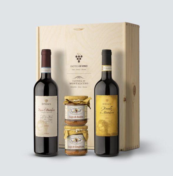 Da Vinci Brunello di Montalcino 2013 + Rosso di Montalcino 2016 + sugo d'anatra e cinghiale (cassetta legno)