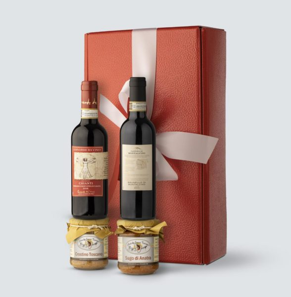 Brunello di Montalcino 2013 0,375 lt + Chianti DOCG 2018 + Sugo di Anatra 180 gr +Crostino Toscano (Confezione Regalo)