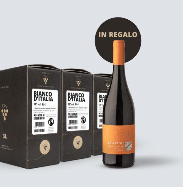 3x Bag in Box vino Bianco 12° (3 lt) + OMAGGIO Governo all'uso Toscano IGT 2015