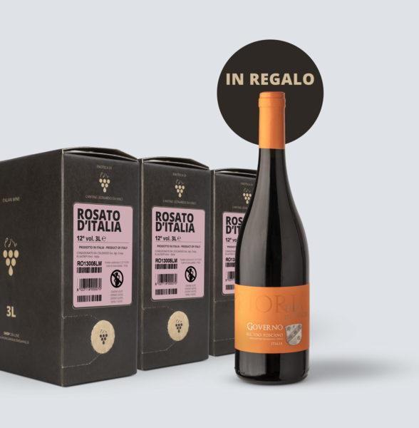 3x Bag in Box vino Rosato 12° (3lt) + OMAGGIO Governo all'uso Toscano IGT 2015
