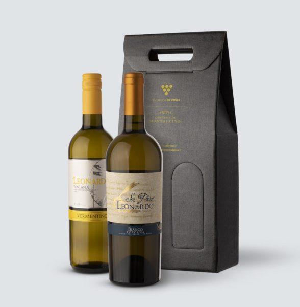 Chardonnay Ser Piero IGT 2017 + Vermentino di Toscana Leonardo IGT 2017 (confezione regalo)