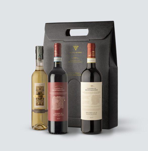 Brunello di Montalcino DOCG 2013 + Rosso di Montalcino DOC 2017 + Grappa di Brunello 500 ml (confezione REGALO)