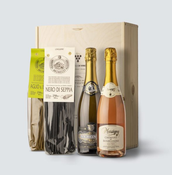 Crémant de Bourgogne Rosé Brut + Blanquette de Limoux Carte de Noire + Linguine nero di seppia e aglio e basilico (cassetta legno)