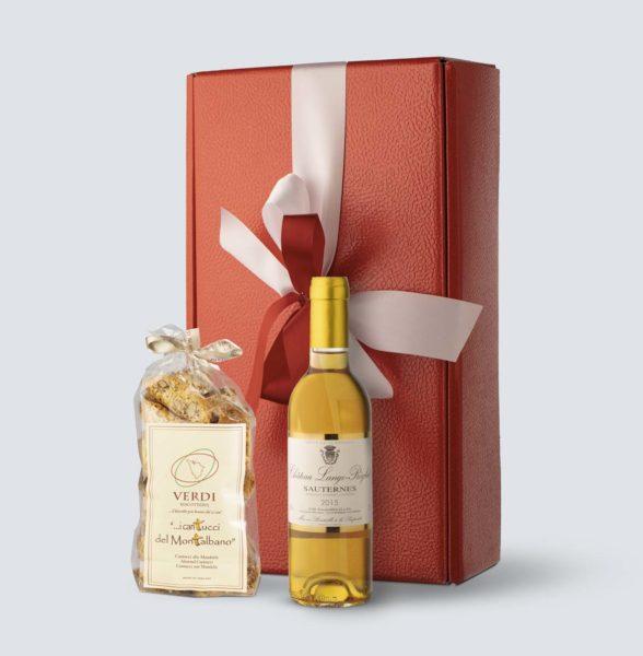 Sauternes 2015 - Chateau Lange-Réglat (0,375 lt) + Cantuccini alle mandorle  (Confezione Regalo)