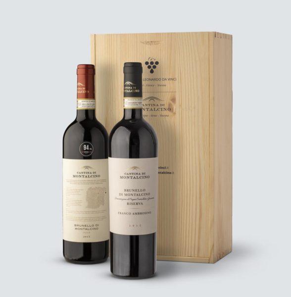 Brunello di Montalcino Riserva DOCG 2012 + Brunello DOCG 2015 (cassetta legno)