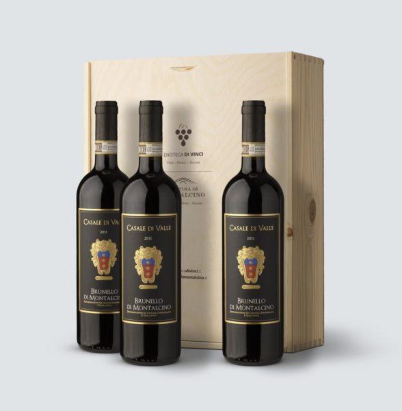 3x Brunello di Montalcino DOCG 2011- Casale di Valle - (cassetta legno)