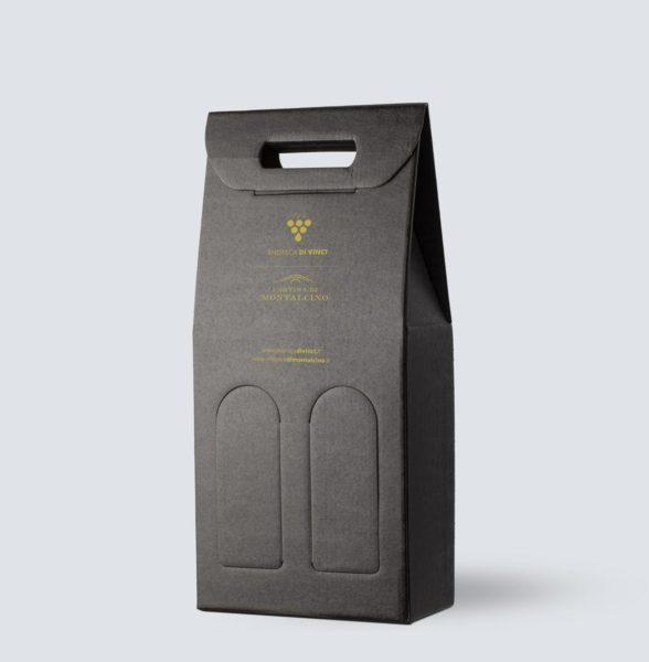 Confezione in kraft nero da 2 bottiglie - Enoteca di Vinci e Montalcino