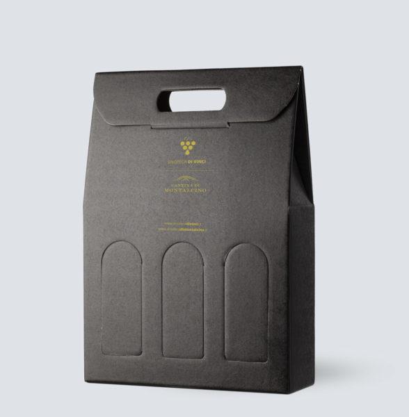 Confezione in kraft nero da 3 bottiglie - Enoteca di Vinci e Montalcino