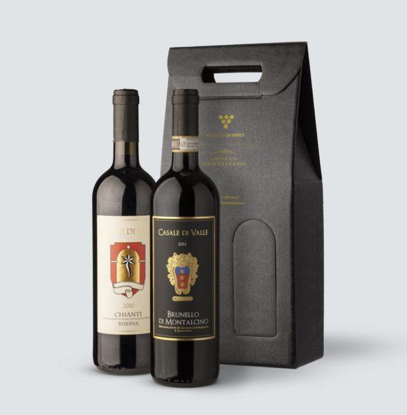 Brunello di Montalcino DOCG 2011 + Chianti Riserva DOCG 2010 - Casale di Valle (confezione REGALO)