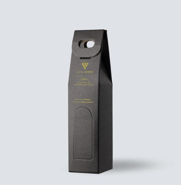 Confezione in kraft nero da 1 bottiglia - Enoteca di Vinci e Montalcino